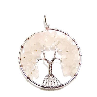 Pandantiv rotund, cu chips cuart roz, copacul vietii, 63x51x8mm  1 buc