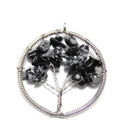 Pandantiv rotund, cu chips obsidian fulg de nea, copacul vietii, 55x50x3.5mm 1 buc