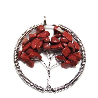 Pandantiv rotund, cu chips jasp rosu, copacul vietii, 55x50x3.5mm 1 buc
