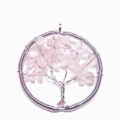 Pandantiv rotund, cu chips cuart roz, copacul vietii, 55x50x3.5mm 1 buc