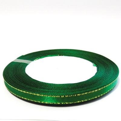 Saten verde cu fir lurex auriu, 7mm, rola 25 metri 1 buc