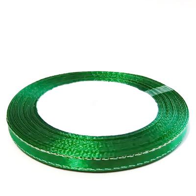 Saten verde cu fir lurex argintiu, 7mm, rola 25 metri 1 buc