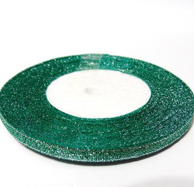 Organza verde cu glitter argintiu, 7mm, rola 25 metri 1 buc