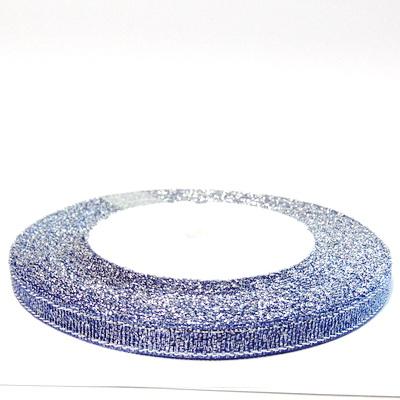 Organza mov cu glitter argintiu, 7mm, rola 25 metri 1 buc