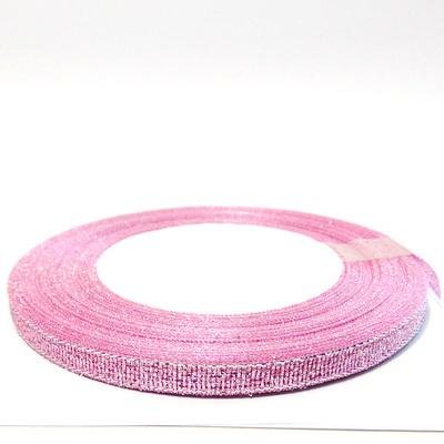 Organza roz cu glitter argintiu, 7mm, rola 25 metri 1 buc