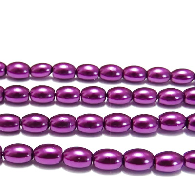 Perle sticla, ovale, violet, 8x6mm 10 buc