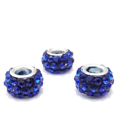Margele fimo, tip Pandora, rhinestone, albastre, 11x7mm  1 buc