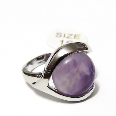 Inel argintiu inchis, electroplacat, ametist, diametru 16mm 1 buc