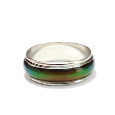 Inel argintiu inchis cu banda rotativa, diametru18mm 1 buc