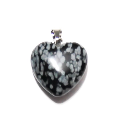 Pandantiv obsidian fulg de nea, inima 17x17x8mm  1 buc