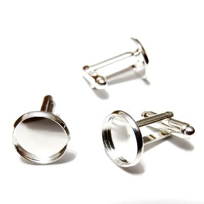Baza cabochon, buton, argintiu, 20mm, interior 12mm 1 buc