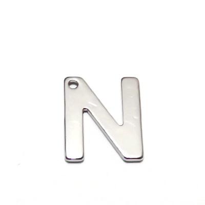 Pandantiv otel inoxidabil 304, litera N, 11x9x0.8mm 1 buc