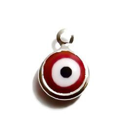 Pandantiv, argintiu 15x11mm cu sticla Murano, ochiul lui Horus, alb-rosu, 9mm 1 buc