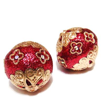 Margele indoneziene, rosu-metalizat cu strasuri ai accesorii aurii, 25x23mm 1 buc