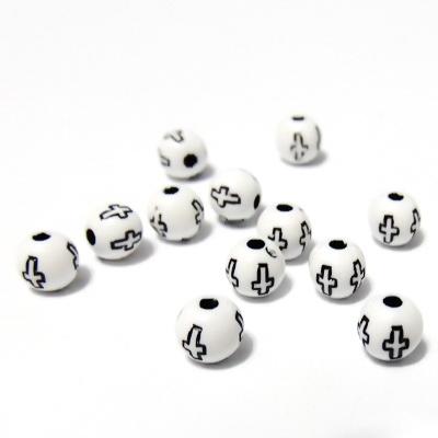 Margele plastic albe cu insertii cruciulite negre, 6mm 10 buc