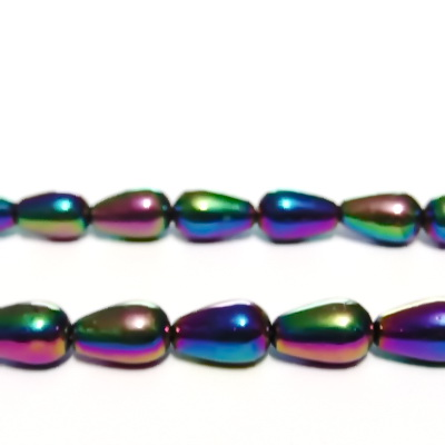 Margele sticla, placate multicolor, lacrima 13x8mm 1 buc