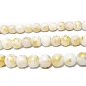 Jad alb cu imprimeu auriu, 6mm 1 buc