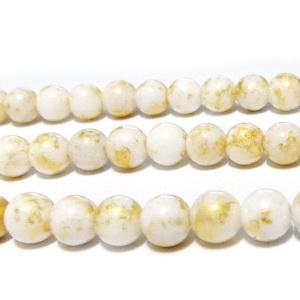 Jad alb cu imprimeu auriu, 8mm 1 buc