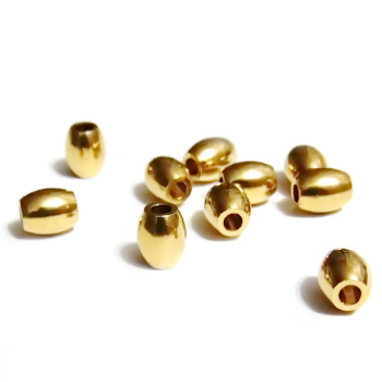 Margele metalice, aurii, 6x5mm 1 buc