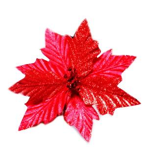 Fluturas din pene, rosu, cu glitter, 11x10cm 1 buc