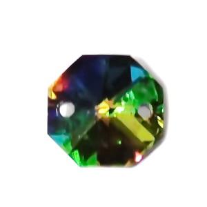 Conector/link sticla multicolora, octagonal, biconic, 14x14x7mm 1 buc