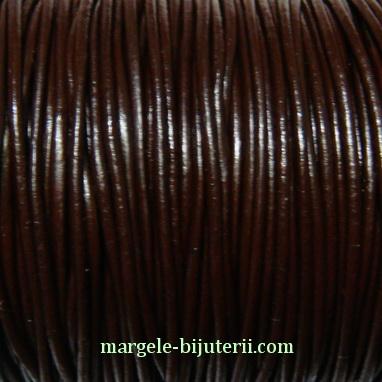 Snur piele naturala, maro, 2mm 1 m