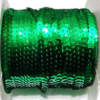 Panglica paiete plastic, verzi, 5mm  1 m