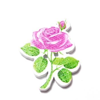 Nasturi lemn cu desen trandafir mov-roz, 30x23x3mm 1 buc