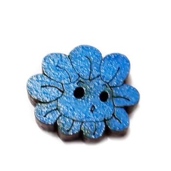 Nasturi lemn cu desen floare albastra, 20x18x3mm 1 buc