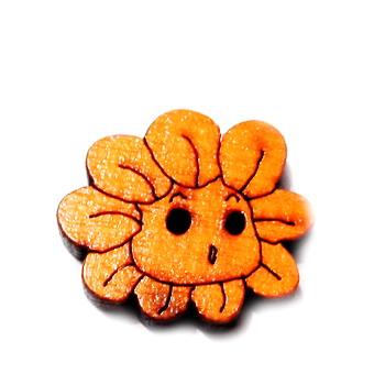 Nasturi lemn cu desen floare portocalie, 20x18x3mm 1 buc