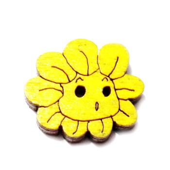 Nasturi lemn cu desen floare galbena, 20x18x3mm 1 buc