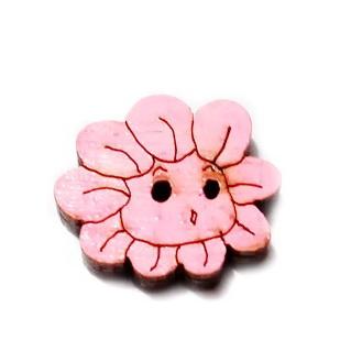 Nasturi lemn cu desen floare roz, 20x18x3mm 1 buc