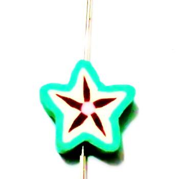 Margele polymer, carambola, 10x10x4mm 1 buc