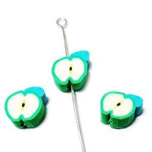 Margele polymer, mar verde, 12x10x4mm 1 buc