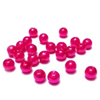 Perle plastic, roz inchis, 6mm 10 buc