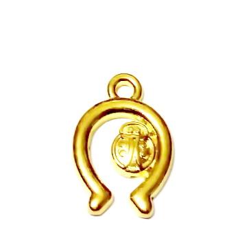 Pandantiv auriu, potcoava cu gargarita, 18x12mm 1 buc