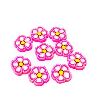 Cabochon polymer, floare roz cu alb, 9~10x1~2mm 1 buc