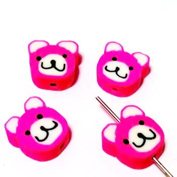 Margele polymer, cap de ursulet, roz, 11~12x11~12x4~4.5mm 1 buc