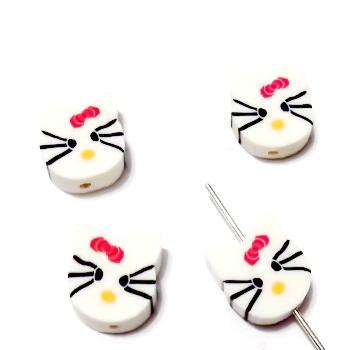 Margele polymer, cap de pisica, alb, 11~12x10~11x4~4.5mm 1 buc