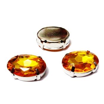 Margele montee rhinestone, plastic, portocalii, oval, 18x13x6mm 1 buc