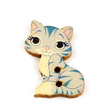 Nasturi lemn, pisicuta gri cu albastru, 27x18x3mm 1 buc