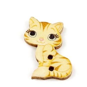 Nasturi lemn, pisicuta bej cu galben, 27x18x3mm 1 buc