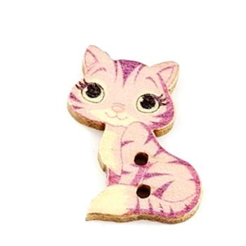 Nasturi lemn, pisicuta roz cu mov, 27x18x3mm 1 buc