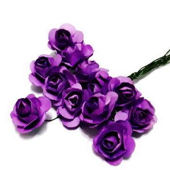 Trandafiri din hartie violet, 20x12mm-legatura 12 buc 1 set