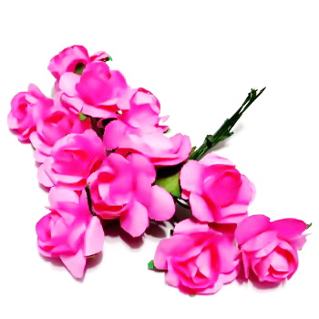 Trandafiri din hartie roz inchis, 20x12mm-legatura 12 buc 1 set