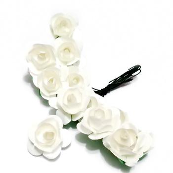 Trandafiri din hartie albi, 20x12mm-legatura 12 buc 1 set