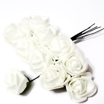 Trandafiri din burete alb, 22x18mm-legatura 12 buc 1 set