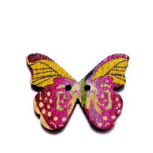 Nasturi lemn, 28x20x3mm, fluturas multicolor, model 14 1 buc