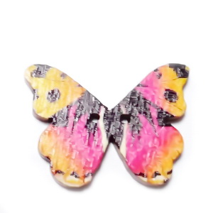 Nasturi lemn, 28x20x3mm, fluturas multicolor, model 20 1 buc