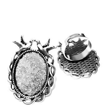 Baza cabochon, argint tibetan, inel, platou 38x27mm, interior 25x18mm 1 buc